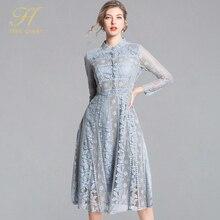 H Han Queen Nieuwe Collectie 2019 Lente Kanten Jurk Mode Vintage Bloemen Hollow Out Luxe Elegante Slanke Vrouwen Avondfeest jurken