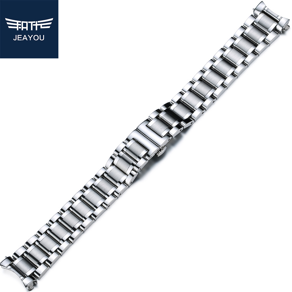 JEAYOU Men Stainless Stell Watch Strap Only For Longines With Deployment Button 20mm 19mm
