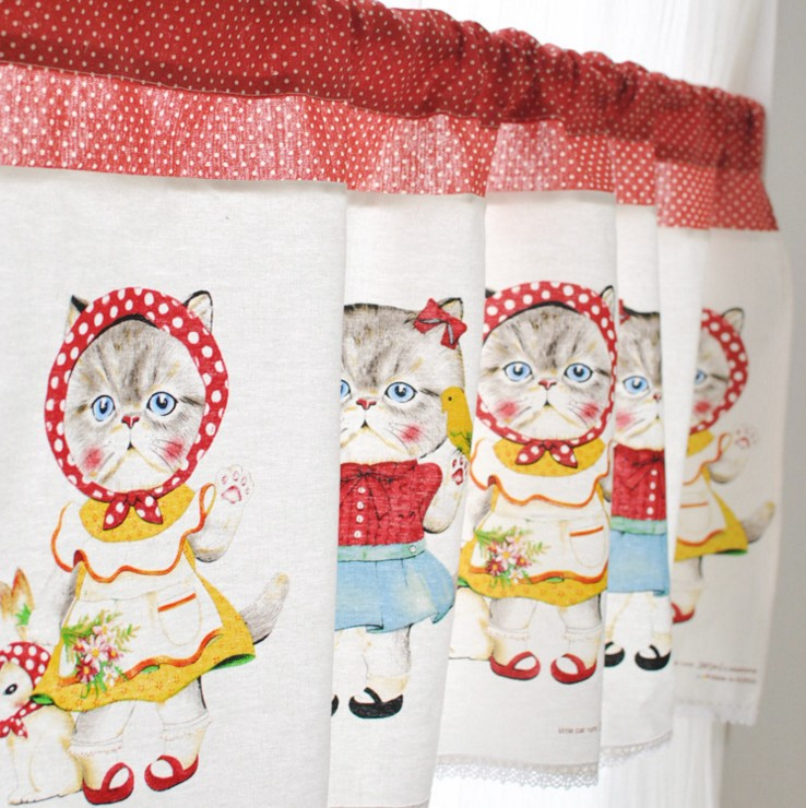 New Printed Cute Cat Cotton And Linen Curtain Coffee Decorated Kitchen Bathroom Bedroom Window Valance 6004cl In From Home Garden On