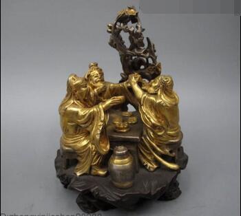 China 100% Bronze 24K Gold Three Brothers Guan Yu Liu Bei Zhang Fei Statue
