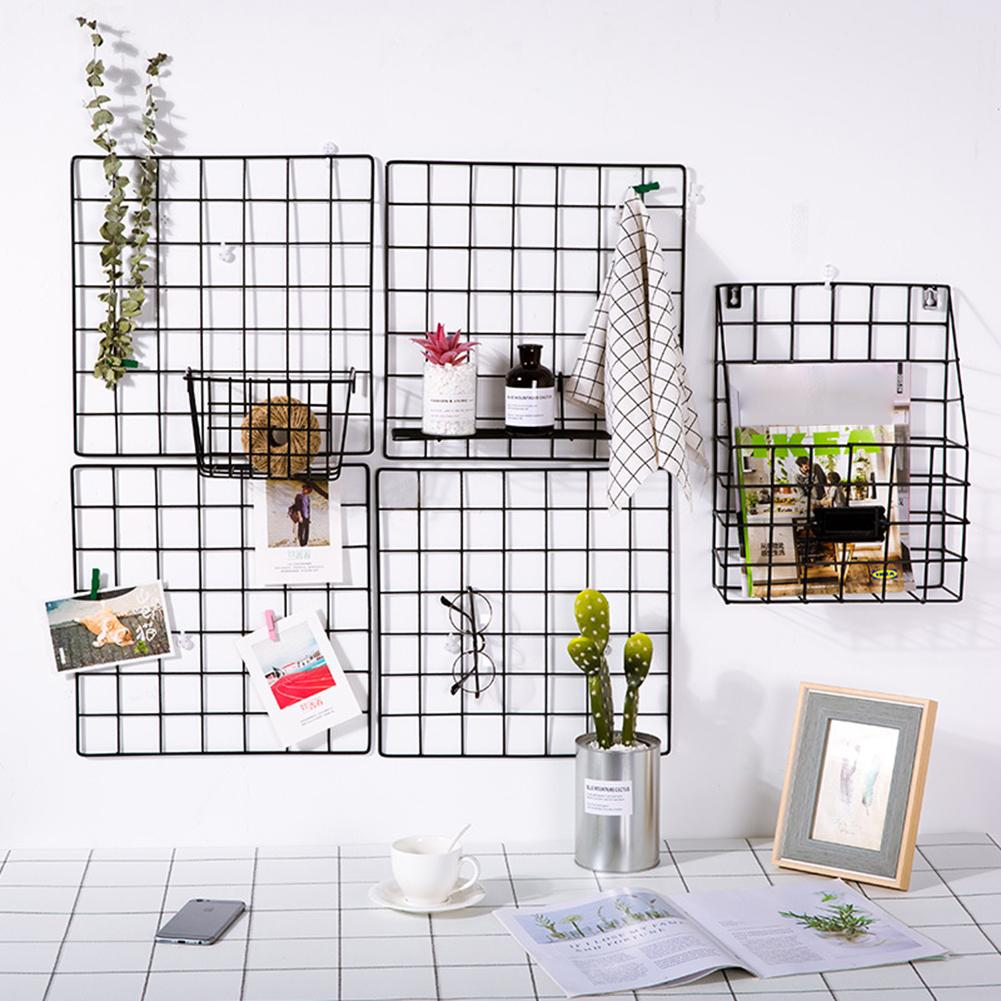 Wall Grid Storage Holders Iron Shelf Wall Metal Grids Flowers Plants Shelf Diy Wall Hanging Photos Rack Home Decoration With Hangers