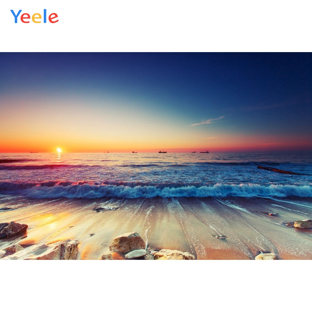 Yeele Beach Seaside Photography Backdrops Wedding For The Photo Studio Sunset Waves Scenery Customized Photographic Backgrounds in Background from Consumer Electronics