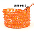 2016 bohemia style 4mm orange crystal beads bracelets bangles style leather bracelet  charm jewelry for girl JBN-9189