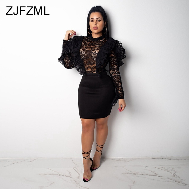 f996e0b86 ... Burgundy Ruffle Lace Sexy Plus Size Dress Women Black Long Sleeve High  Waist Bodycon Mini Dress ...