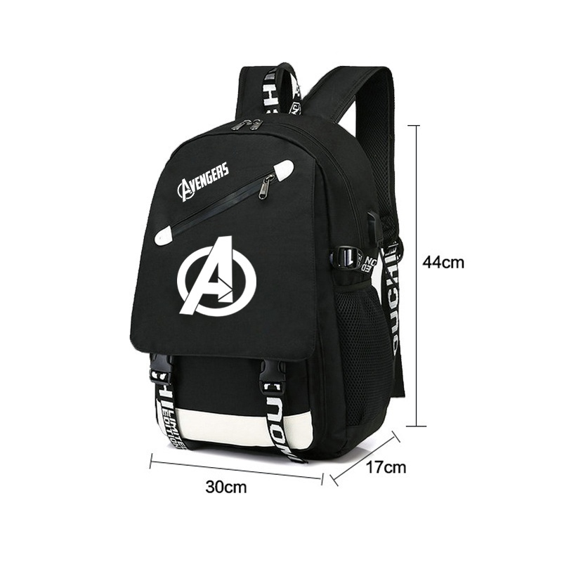 Image 2 - BPZMD Avengers Luminous Backpack Canvas Print Rucksack Laptop  Backpack School for Boys USB Charging Travel Student Backpack  BagBackpacks