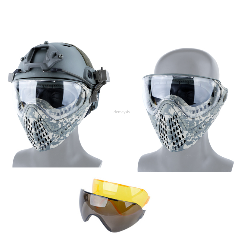 Military Airsoft Paintball Mask 3 Lens Tactical Helmet Mask Protective Hunting Shooting CS Full Face Airsoft Mask