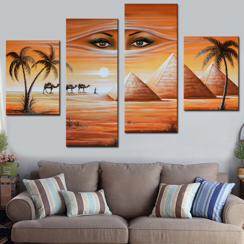 Modern Fantasy Oil Painting Egyptian Pyramids Landscape Hand Painted Calligraphy on Canvas 4 Pieces Wall Art Pictures Unframed