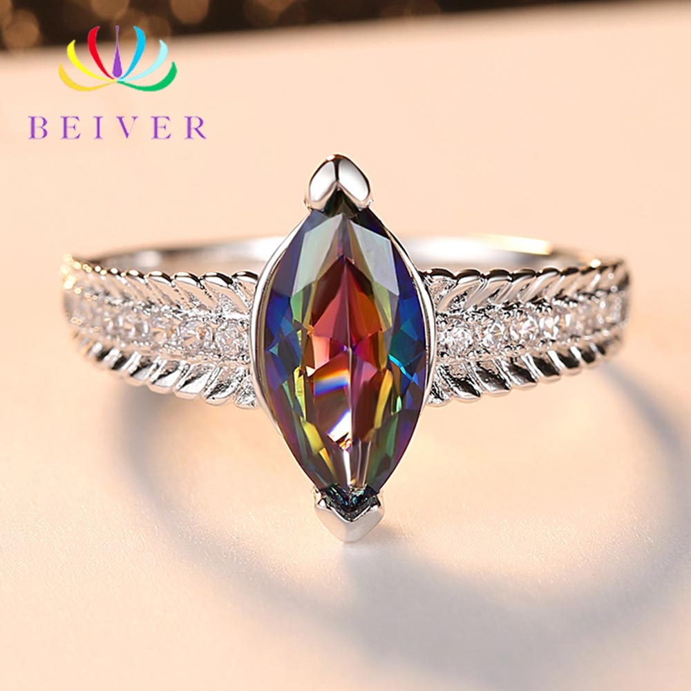 Beiver 2019 New Arrival White Gold Color Rainbow Oval Zircon Promise Wedding Bands Rings for Women Party Jewelry Ladies Gifts