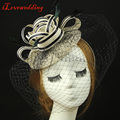 2016 Bridal Hat Linen with Net and Feather Ivory/Blue/Green/Khaki/Red/Grey Wedding Hair Accessories Mini tocados sombreros bodas