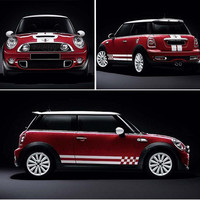 Racing Sport Styling Lattice Lines Car Whole Vinyl Sticker Exterior Hood+Both Side+Tail Auto Body Decorative Decals For BMW MINI