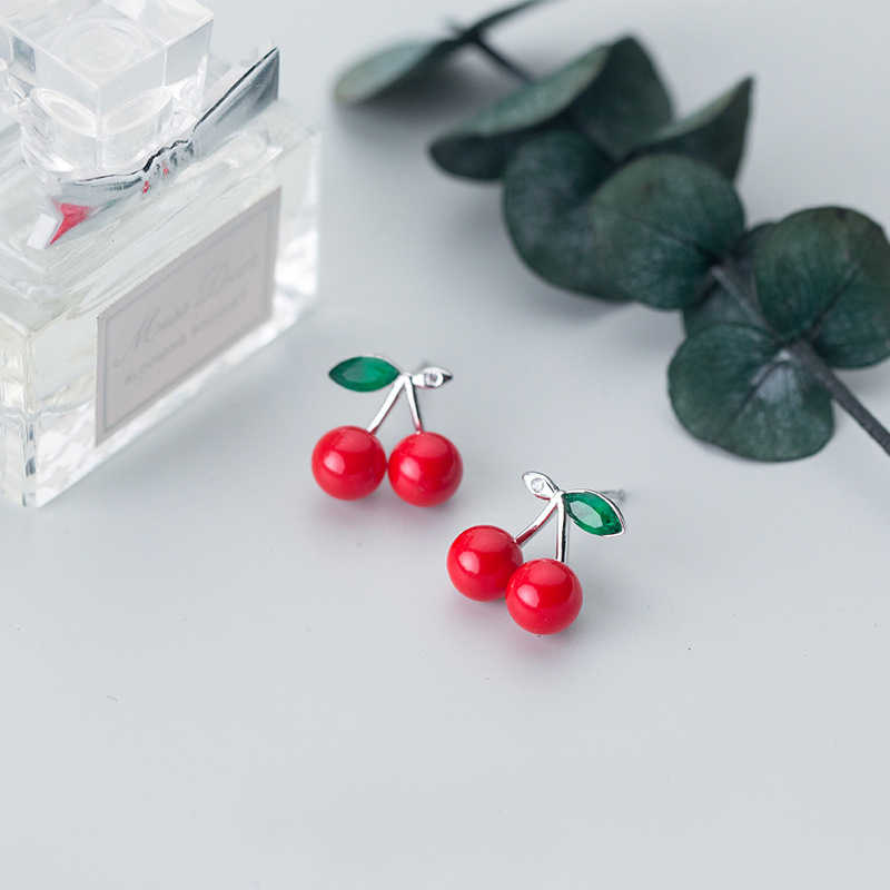 MloveAcc Brand Authentic 925 Sterling Silver Red Cherry Fruit Women Stud Earrings Female Birthday Girls Kids Lady Gift