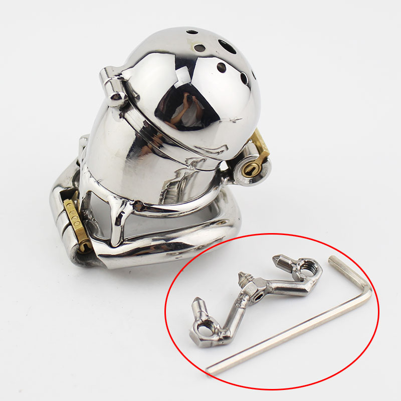 Stainless Steel Chastity Belt Male Chastity Device NEW Double Lock Design Metal Penis Lock Chastity Cage Ring Sex Toys For Men 2015 new birdlocked mini silicone cb6000s male chastity cb device chastity belt men chastity device lock rings sex toys