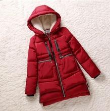 Новый 2015 Зима Женщины Ватные Куртки Красный Женский Верхняя Одежда Плюс Размер 5XL Утолщение Вскользь Вниз Хлопка Ватные Пальто Женщин Парки
