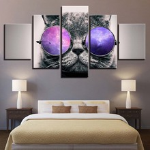 Animal Print Cat Dog Bear Lion color Paintings Poster Wall Print color 5 Panel Home Decorations Living Room Abstract 291 все цены
