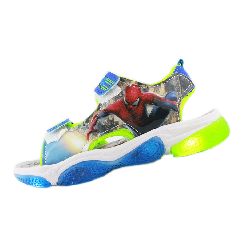 2019 New Kids Soft Spider-man Sandals  With LED Light Disney  Summer Children Sport Beach Shoes Europe Size 20- 31