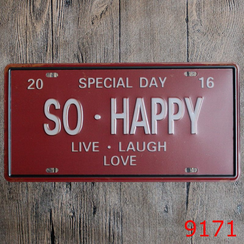 New arrival LOSICOE Vintage license plate SO HAPPY Wall art craft metal painting vintage Iron for bar home decor 15X30 CM