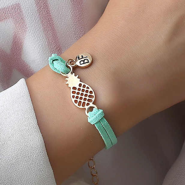 Fashion Pineapple Leather Rope Braclet For Women Cute Fruit Handmade Bracelet Best Friend Gifts Feminina BF Couple Jewelry