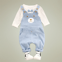Girls Clothing Set Overalls 2017 Autumn New Style Toddler Baby Boy Clothing Cotton O Neck Full