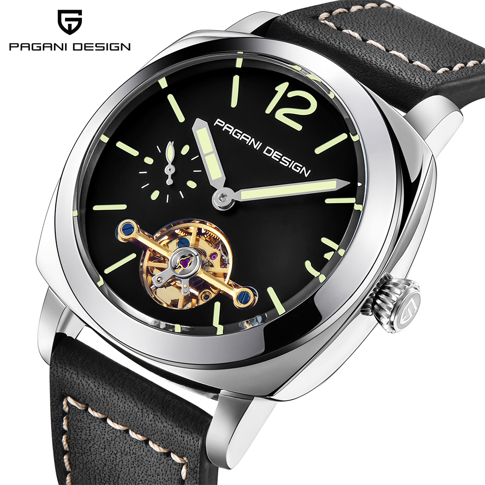 PAGANI DESIGN Luxury Fashion Automatic Mechanical Watches Water 30M Genuine Leather Casual Business sport Men Watch big Dial holuns original luxury automatic mechanical watch golden big dial sapphire mirror hollow watch men casual retro leather watches