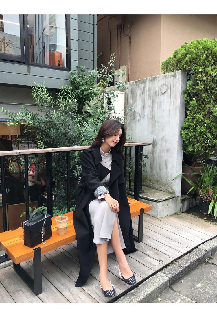 Spring Autumn Maxi Long Women's Loose Trench Coat With Belt Khaki & Black Plus Size Korean Style Windbreaker Outwear 12