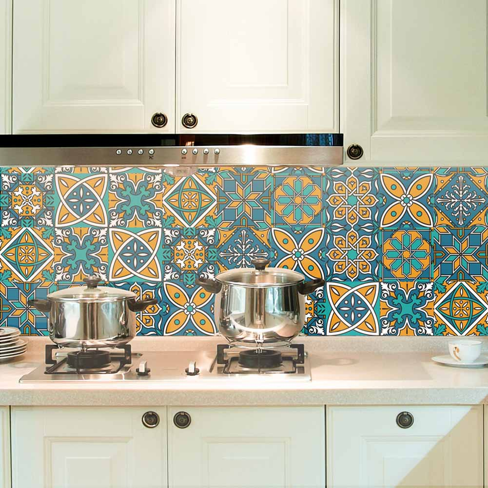 1 Roll <font><b>Retro</b></font> Tile <font><b>Stickers</b></font> Kitchen Waterproof <font><b>Wall</b></font> <font><b>Stickers</b></font> Bathroom Self Adhesive DIY <font><b>Wall</b></font> Decals 66CY image