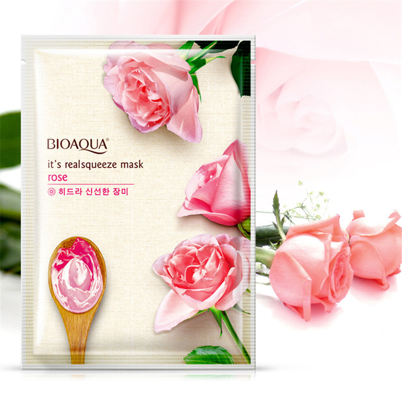 BIOAQUA Rose Facial Mask Smooth Moisturizing Face Mask Oil Control Hydrating Nourishing Shrink Pores Peel Mask Skin Care