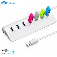 RSExplorer Aluminium alloy 7 ports usb 3.0 hub High speed Power Adapter usb hab splitter for Macbook Pro Mac PC Laptop Tablet