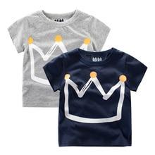 Summer Kids Boys T Shirt Crown Print Short Sleeve Baby Girls T-Shirts Cotton Children T-Shirt O-Neck Tee Tops Boy Clothes 1-10Y цена и фото