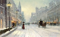 Free Shipping Famous Thomas Kinkade Snow Street Landscape Painting Reproduction Prints Canvas On Sale