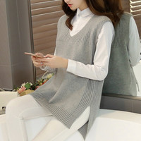 Spring And Summer Knitted Wool Vest Women Sleeveless Loose V Neck Long Tanks Cropped Feminine Sexy
