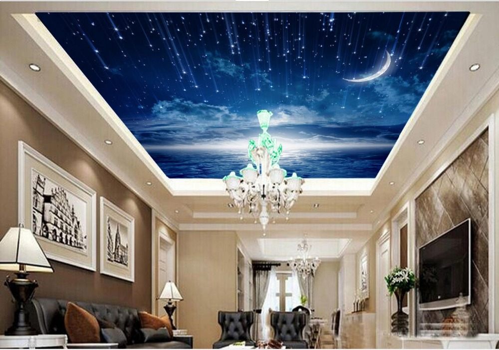 Modern style dark blue sky ceiling murals wallpaper 3d for Ceiling sky mural