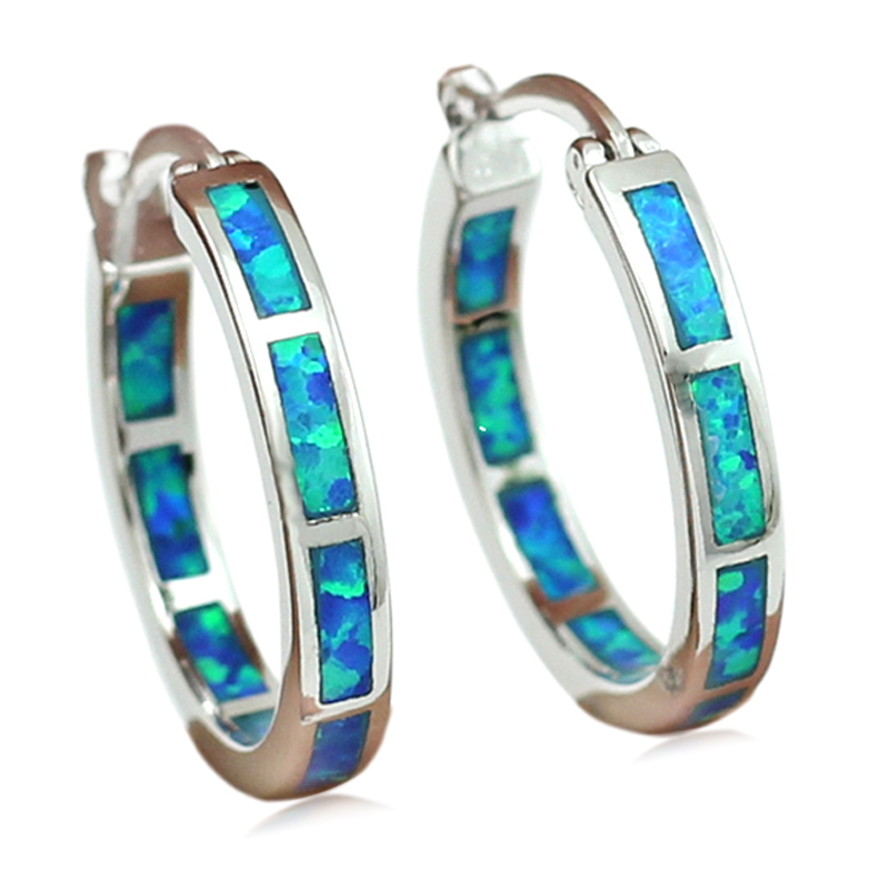 Ocean Blue Fire Opal Stone Oorringen voor dames 20mm OE202