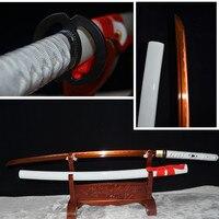 Высокое качество 1095 углеродистая сталь японский самурай катана ручной работы функциональный Меч Полный Тан может CUT Бамбук Дерево
