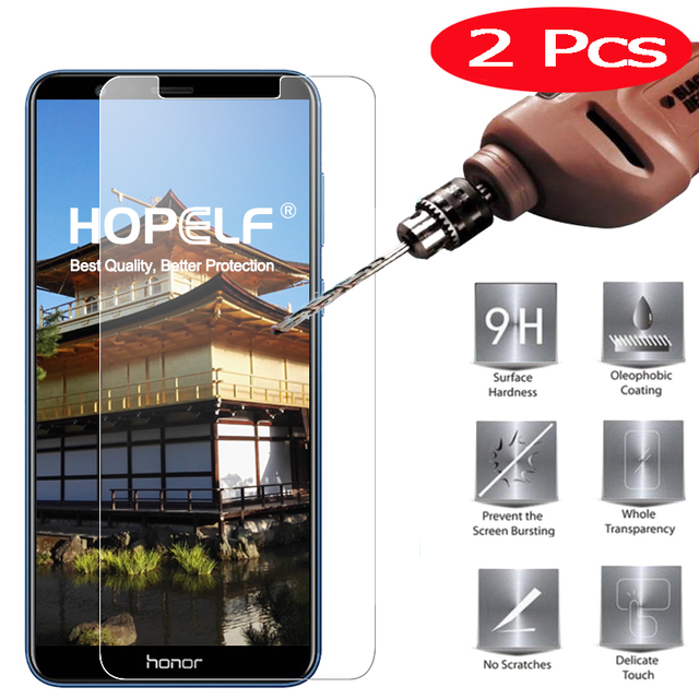 2 Pieces HOPELF Screen Protector for Huawei Honor 7X Glass Tempered Phone...