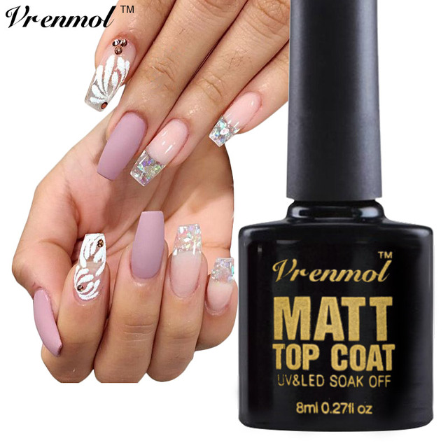 Vrenmol 8ml Transparent Matte Matt Top Coat Vernis French Nail