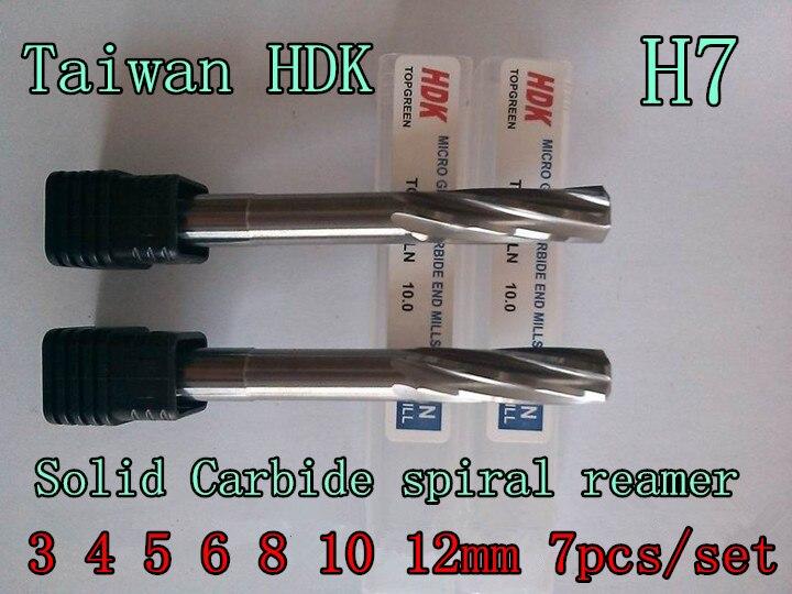 3 4 5 6 8 10 12mm 7pcs set Taiwan HDK Solid Carbide spiral reamer Chucking