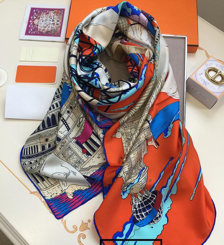 Silk Scarf Women 16M/M Lady Luxury Brand Scarves Designer Scarf Handmade Hemming Shawls Wraps Collar Headband 140*140cm