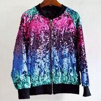 2019 Spring Autumn Pilot Baseball Sequined Jacket Women Gradient Color Bomber Sequins Jacket Coat Woman Veste Femme