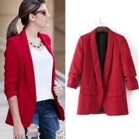 2019 Women Casual Blazer Autumn Jacket Shawl Collar Red Pink Black Coat Office Lady Blazer Fashion Slim Fit Outwear HX 6258