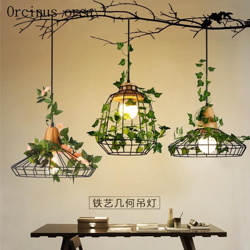 Modern Minimalist Garden Bar Restaurant Lamp  Chandelier Iron Creative Personality Plant Lights Nordic Window Chandelier
