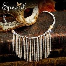 Специальные Новая мода золото Макси ожерелье многослойная Tassle Ожерелье чешские себе ожерелье Подарки для женщин XL150826