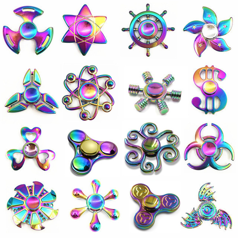 Rainbow brass Hand Fidget Spinner Finger EDC Hand Spinner Tri For Kids Autism ADHD Anxiety Stress Relief Focus Handspinner Toys  colorful edc fidget spinner ufo tri spinner zinc hand spinner aluminum alloy fidget toy anxiety stress adults kid metal spinner