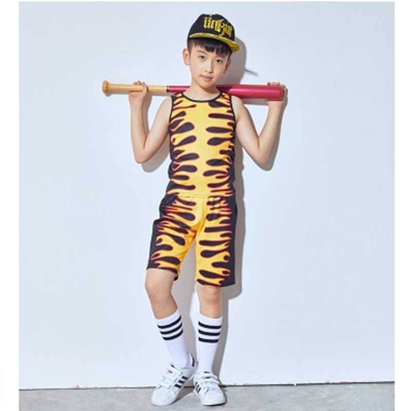 SONGYUEXIA New Boys and Girls Jazz Modern Street Hip Pop Dance Costume Coat Short 2Pcs Stage Performance Suit Catwalk Drum