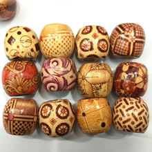 100pcs/set Vintage Round DIY Wood Beads Shellhard Mix Style Jewelry Making  For Charm Bracelet Wholesale 9x10mm