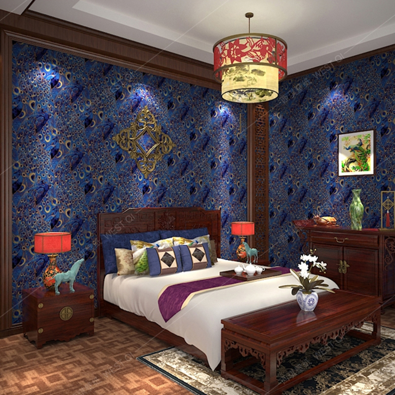 beibehang Peacock Wallpaper Paper Wall Paper 3D Roll Gold Bordered for Living Room Bedroom TV Backdrop Blue .papel de parede beibehang papel de parede 3d dimensional relief korean garden flower bedroom wallpaper shop for living room backdrop wall paper