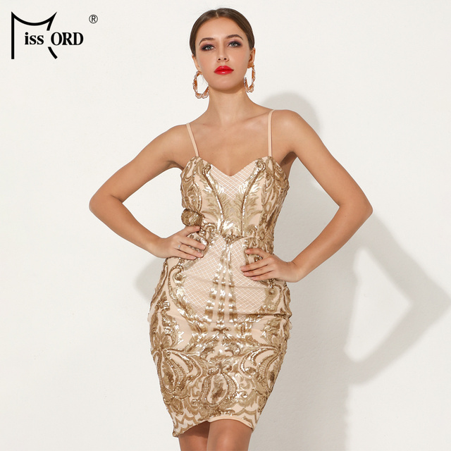 Missord 2019 Sexy V образным вырезом с открытыми плечами спинки блесток Bodycon платья для вечерние женщин женские элегантные вечерние мини платье Vestdios FT18745