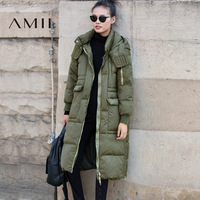 Amii Women 2017 Winter 90% White Duck Down Coat Hoodies Knee Length Female Fashion Light Jacket Coats