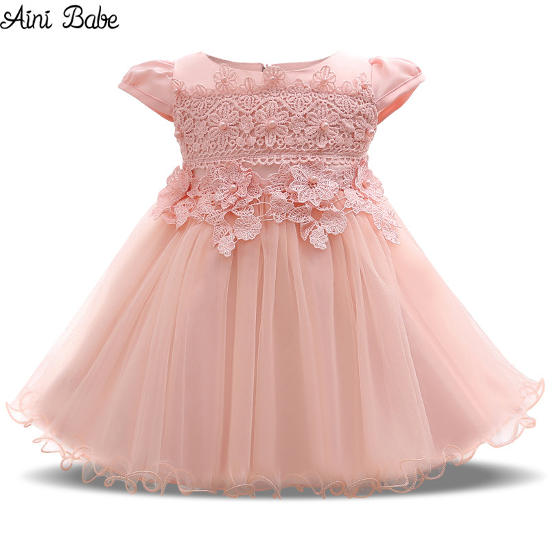 Aini Babe Baby Dresses for Girls Baptism Summer Baby Frock Flower Girl Wedding Gown Toddler Tutu Birthday Dress Girl 1 2 Years