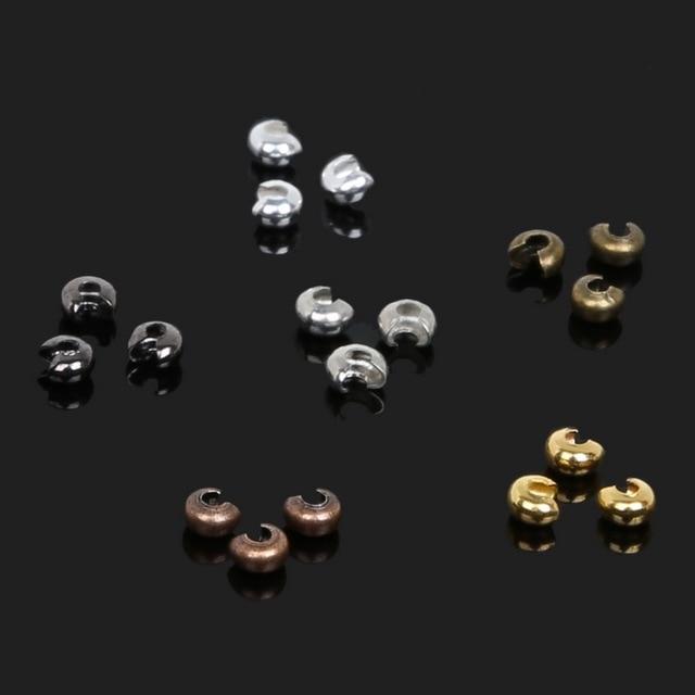 Wholesale 3mm 100pcs/lot Iron Crimp End Beads Cover Jewelry Accessory for DIY Bracelet Necklace