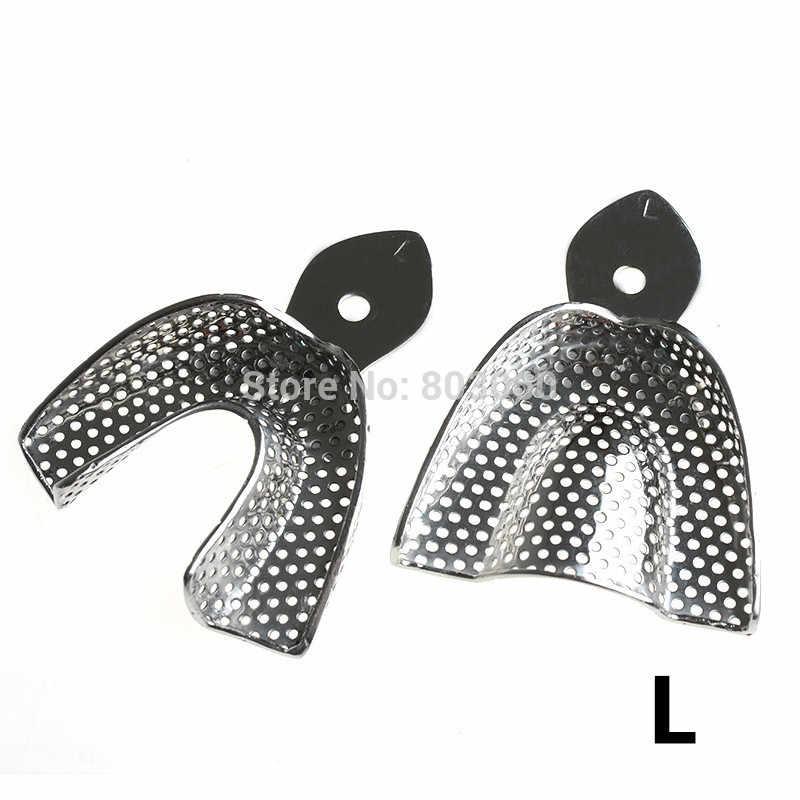 Gratis Pengiriman 2 Pcs/set Gigi Kesan Tray Stainless Steel Gigi Tray Autoclavable Gigi Tiruan Alat Nampan Alat Dokter Gigi